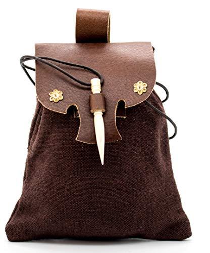 Mythrojan Medieval Small Leather Belt Pouch LARP Renaissance Waist Bag - Brown