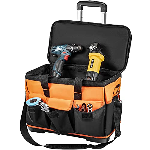 VEVOR Rolling Tool Bag, 18in Tool Bag with Wheels, 17 Pockets Roller Tool Bag, 110lb Load Capacity Rolling Tool Bag w/Wheels, Roller Tool Box w/Two 2.56in Wheels, Rolling Tote w/Telescoping Handle