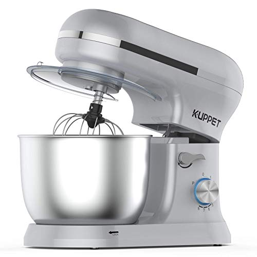 KUPPET Robot Pâtissier 1000W,Robot Pâtissier avec Bol d'Acier Inox 4,5L, à 8 vitesses Robot Pétrinavec Fouet à Fils,Batteur, Crochet,(Argent)