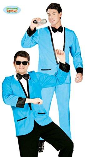 Blauer Disco Anzug Kostüm für Herren Gr. M/L, Größe:L