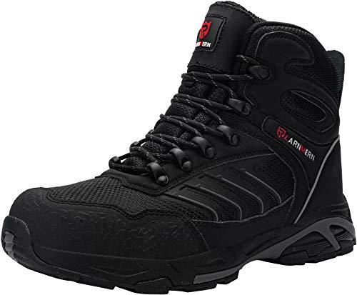 LARNMERN Sicherheitsschuhe Arbeitsschuhe Herren, Sicherheit Stahlkappe Stahlsohle Anti-Perforations Luftdurchlässige Schuhe (42 EU, Pures Schwarz)