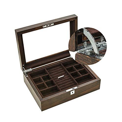 GYMEIJYG Caja De Almacenamiento De Reloj Doble Capa Caja De Reloj De Madera Caja De Almacenamiento De Exhibición De Joyería Caja De Reloj con Tapa De Vidrio para Guardar Relojes