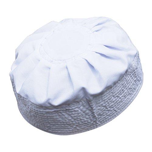White Cotton Pleated Top 3.5in Tall Fabric Kufi Prayer Cap Beanie (XXL)