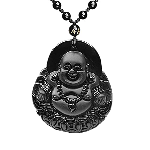 Laughing Buddha Necklace Natural Obsidian Hand Carved Buddhism Religion Prayer Talisman Protection Pendant Adjustable Bead Buddah Neckless Jewelry Gift For Men