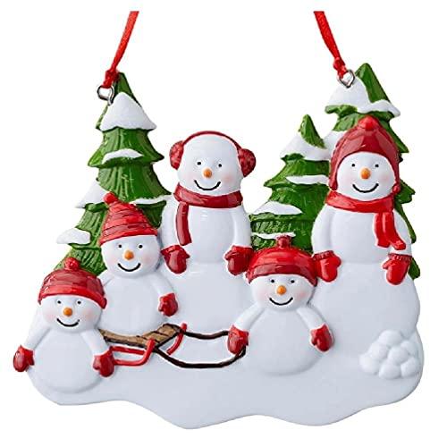 Colgante de la familia del muñeco de nieve feliz de Navidad para la decoración del árbol de Navidad, accesorios de resina muñeco de nieve