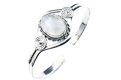 Mondstein Armreif 925 Silber Sterlingsilber Armband Armspange weiß (MAR 03-04)