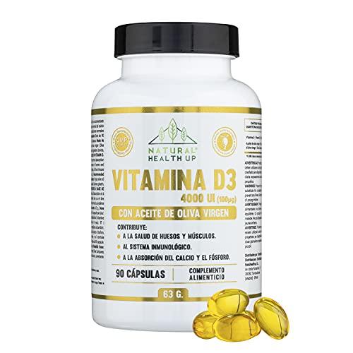 Vitamina D3 con aceite de oliva Natural Health Up – Vit D3 4000 UI alta dosificación para el cuidado de huesos y la absorción de calcio y fósforo – Refuerzo del sistema inmune – 90 cápsulas