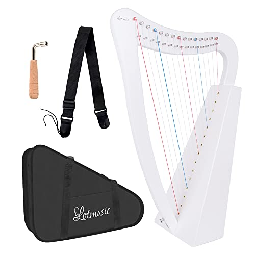 Lyre Harp,15 strings 22 inch Solid Birchwood Musical Instrument Height For Adult Kids Beginner with Tuning Wrench Black Gig Bag Strap Spare Strings