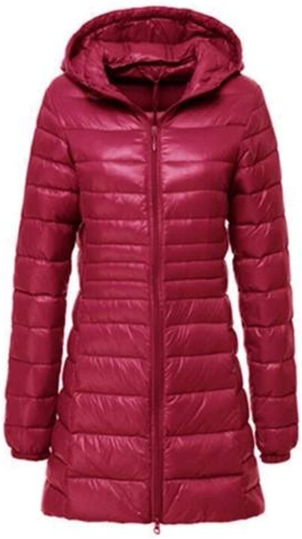 HITSAN Women Ultra Light Down Jacket Autumn Winter Warm White Duck Down Parkas Long Hooded Thin Lightweight Coat Plus Size s 6XL ab497 Dark Red L