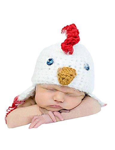 THEE Säugling Huhn Mütze Hut Baby Kostüm Fotografie Zubehör ,Weiß 2#,Mütze