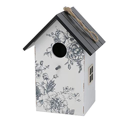 CasaJame Holz Vogelhaus für Balkon und Garten, Nistkasten, Haus für Vögel, Vogelhäuschen, weiß mit Rosenmotiv 15x12x22cm