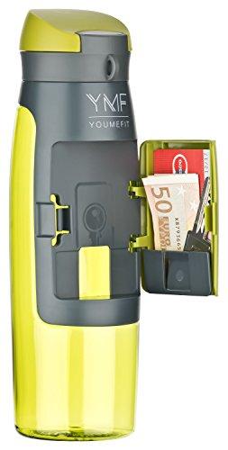 YOUMEFIT Trinkflasche mit Fach - 750ml - Sport Wasserflasche – Sportflasche grün
