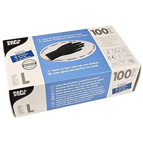 PAPSTAR Handschuh, unsteril, Naturlatex, puderfrei, Größe: L, schwarz (100 Stück), Sie erhalten 1 Packung á 100 Stück