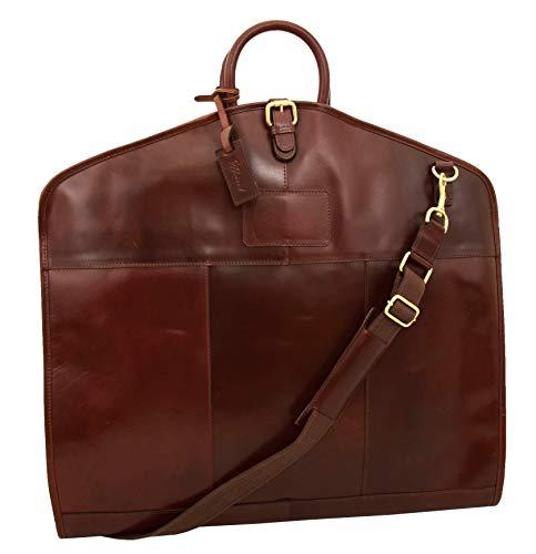 Genuine Leather Suit Carrier Bag Brown Suiter Case Dress Garment Cover Travel Bag Fortune