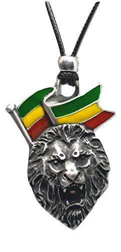 Eclectic Shop Uk Lion of Judah Pendant Rasta Bob Marley Ethiopia Jamaica Enamel Cord Necklace