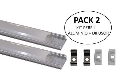 (LA) 2x Perfil de Aluminio 1m LED para Tiras del LED con Cubierta Blanca Lechosa. Los tapones de los extremos y los clips de montaje de metal están incluidos en el Pack. (PACK X2)