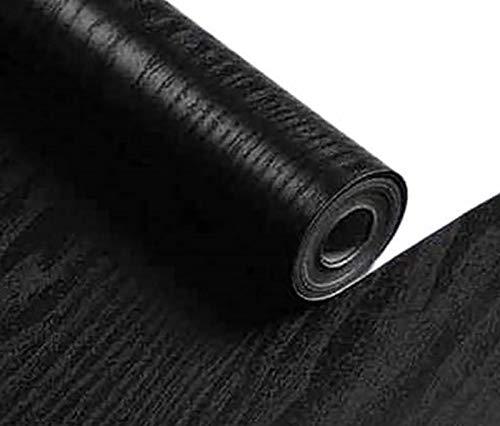 Yancorp Matte Black Grain Wood Textured Wallpaper White Wood Vinyl Film Self-Adhesive Wall Paper Shelf Liner Removable Peel-Stick Countertop (16'x197', Black Wood)