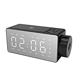 WMC Bluetooth Speaker Wireless Charging LED Display Multifunction TF Card Support Smart Projection Bedroom Alarm Clock Music Playing,Black