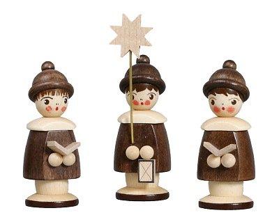 Weihnachtsfiguren Kurrende, Natur – 3 Kurrendesänger – Holzfiguren - Holz – Höhe 6,2 cm - Handarbeit Erzgebirge - NEU