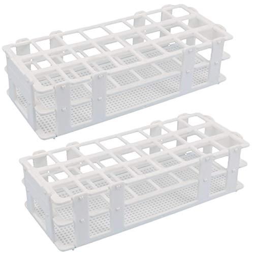 Chougui - Soporte para tubos de ensayo de laboratorio, 2 unidades, 24 agujeros, para tubos de ensayo de 25 mm, desmontable, color blanco