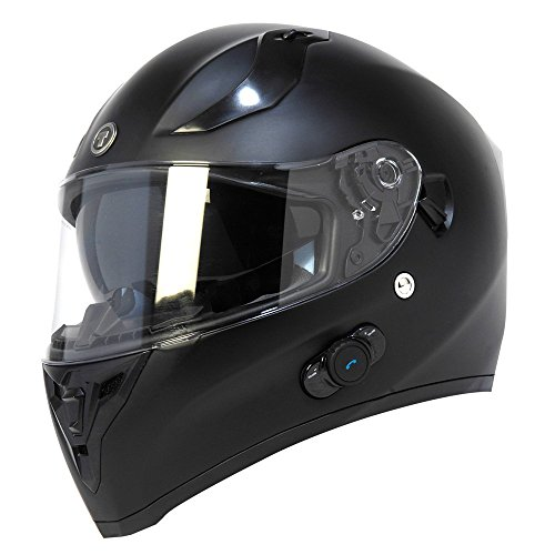 TORC T15B Bluetooth Integrated Full Face Motorcycle Helmet With Solid Color (Matte Black,Large)