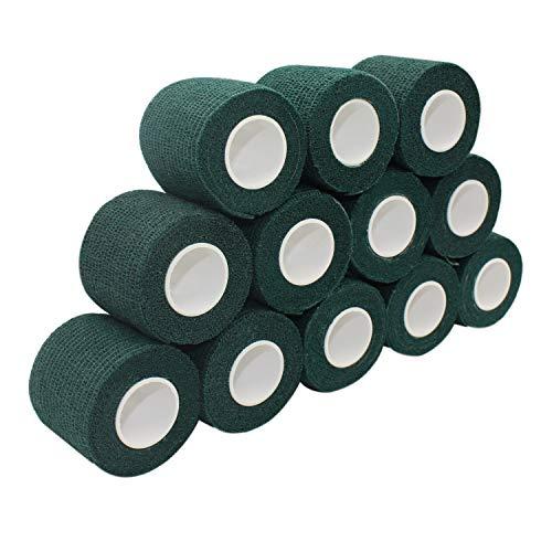 COMOmed Non-woven fabric self-adhesive Bandage venda cohesiva Mascota Vendaje Verde oscuro 5cmX4.5m 12 Volumen