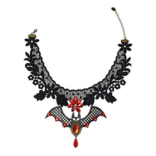 PRETYZOOM Collar Gargantilla Gargantilla Negra Gargantilla de Encaje Collar de Murciélago Vampiro Collar Gótico de Halloween para Mujeres Niñas