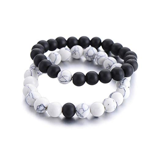 Clyine Perles naturelles noires et blanches faites à la main Pierre de lave Bracelet en perles d'agate noire Bracelet Couples Bracelet