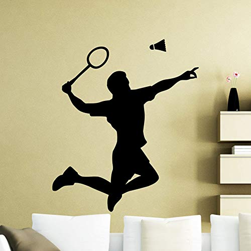 SLQUIET Badminton Player Wandtattoo Schläger Sport Vinyl Aufkleber Home Room Indoor Home Dekoration Wohnzimmer Wandaufkleber Mode Aufkleber 22 schwarz 57X67 CM