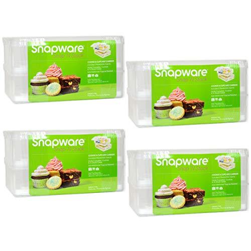 Snapware Snap 'N Stack 2-layer Cupcake, Cookie, Cake, and Brownie Carrier - 4 Pack