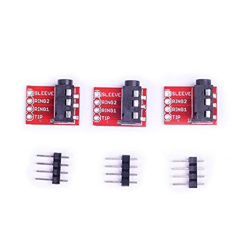 Cylewet 3pcs trrs 3.5mm stereo audio jack Breakout Board video MP3jack per cuffie per Arduino (confezione da 3) CLW1031