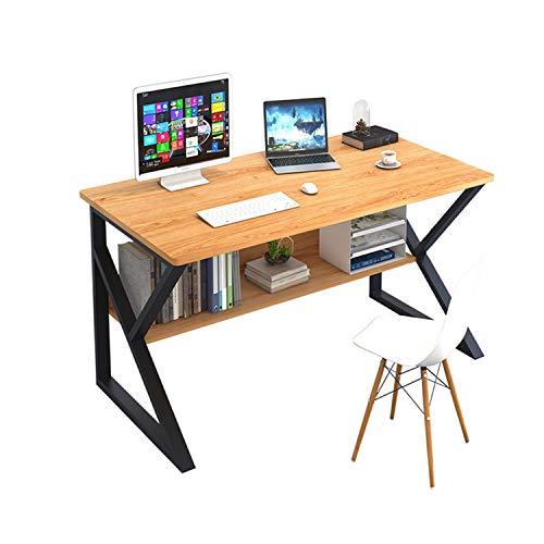 Plasaig - Escritorio compacto impermeable para computadora con cabaña, escritorio de madera para espacios pequeños, patas de mesa en forma de K, escritorio de oficina(madera de pera amarilla)