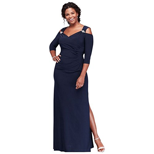 Cold Shoulder Plus Size Mother of Bride/Groom Gown with Crystal Accents Style 8950DW, Navy, 18W