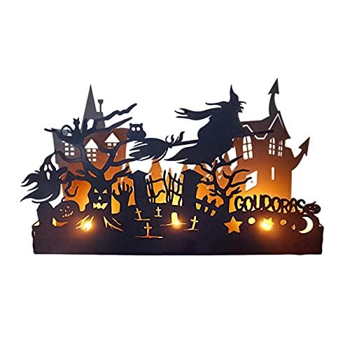 GZWY Caja de velas de Halloween con ventana personalizada, decoración de castillo de metal para casa de brujas