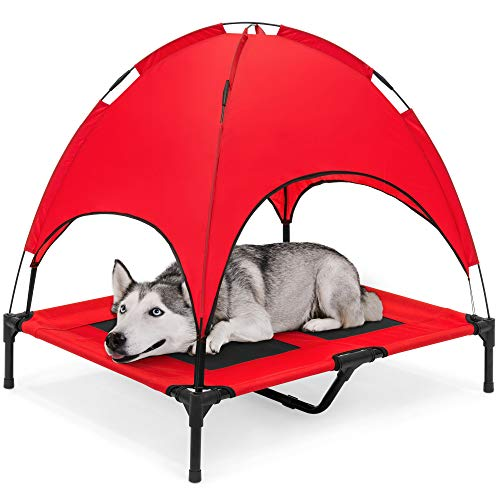 Best Choice Products Outdoor Raised Mesh Cot Cooling Dog Pet Bed for Camping, Beach, 36in, Red, w/Removable Canopy, Travel Bag
