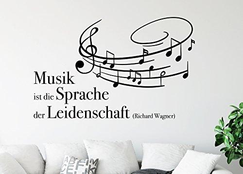 tjapalo® s-pkm367 Wandtattoo Musik Spruch Wandtattoo Wohnzimmer Musik ist die Sprache der Leidenschaft (B58 x H30 cm)