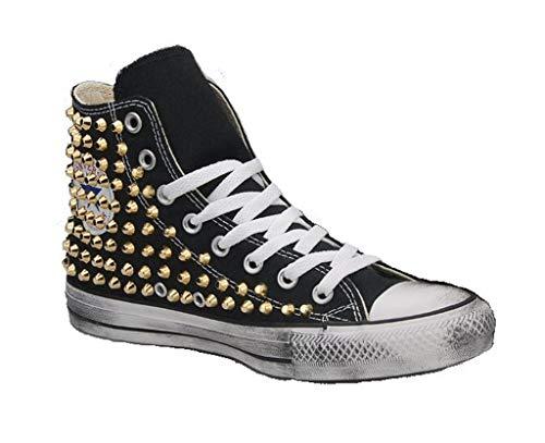 Scarpe Personalizzate Borchiate Sneakers Nera (Artigianali) con Borchie Tronco Cono Oro Effetto Invecchiato