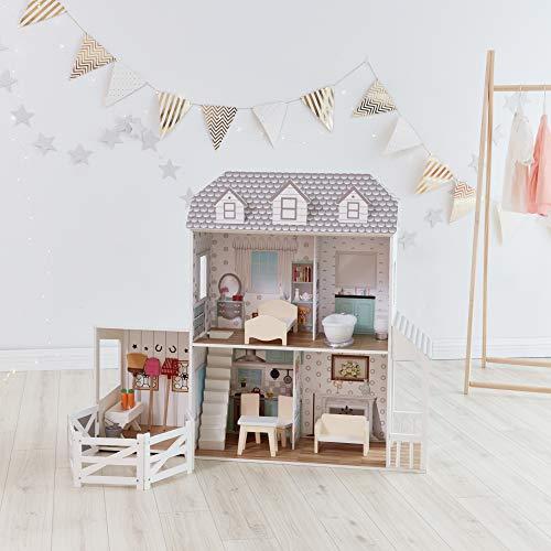 Olivia's Little World Traumland-Bauernhaus 12' Doll House - Whtie / Grau TD-12901A