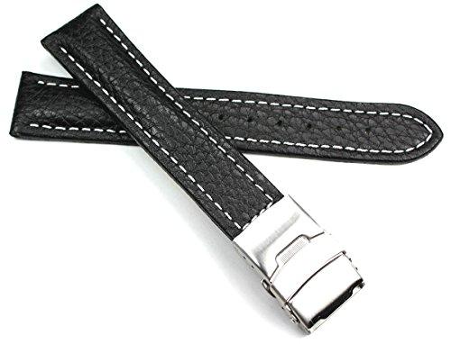Sulla 20mm Herren Leder Uhrenarmband mit Edelstahl Faltschließe schwarz weiße Naht