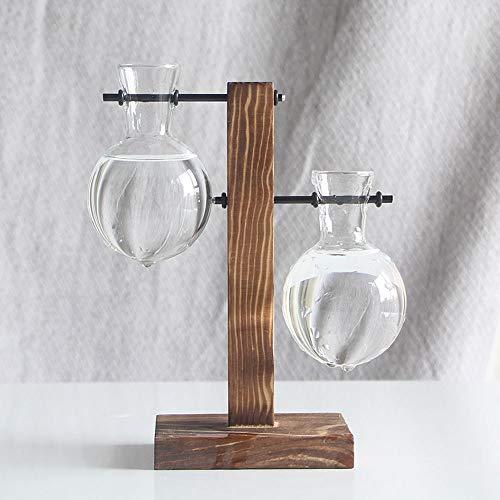 Huieng glas heldere lamp vaas plant terrarium met houten standaard, vintage desktop hydroponic vaas, glas bloempot lamp vaas voor bureau bruiloft decoratie