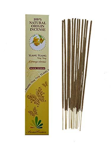 Varillas de incienso 100 % naturales certificadas por ICEA (Italia) – Fabricación tradicional – Perfume Ylang Ylang