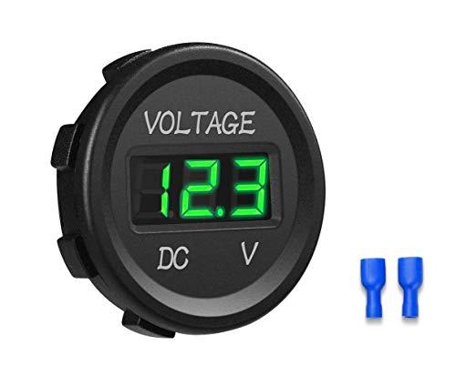 YGL 12-24V Impermeable DC Voltímetro Pantalla Digital Led para Coche Motocicleta Camión Barco (Verde)