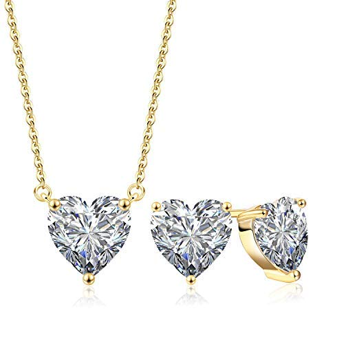 Collar con colgante de corazón y pendientes para mujer, chapado en oro blanco de 18 quilates, gargantilla de plata para bodas