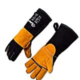 SAFEYEAR Heat Resistant Work Gloves, 932°F/500 °C Heavy Duty Protection Genuine Leather Gloves with Kelvar Stitching, CE EN407 Approved for Welding Fireplace, BBQ, Oven, Cooking, Grilling, Baking etc