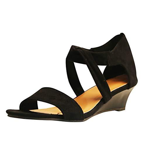MOTOCO Sandalen Frauen Sommer Modische Damen Einfarbig Plus Größe Römischen Keilabsatz Reißverschluss Bandage Knöchel Schuhe(36,Schwarz)