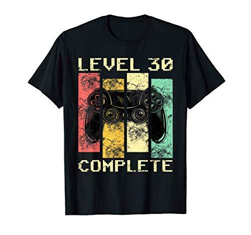 Level 30 Complete 30 años Gamer de regalos de 30 cumpleaños Camiseta