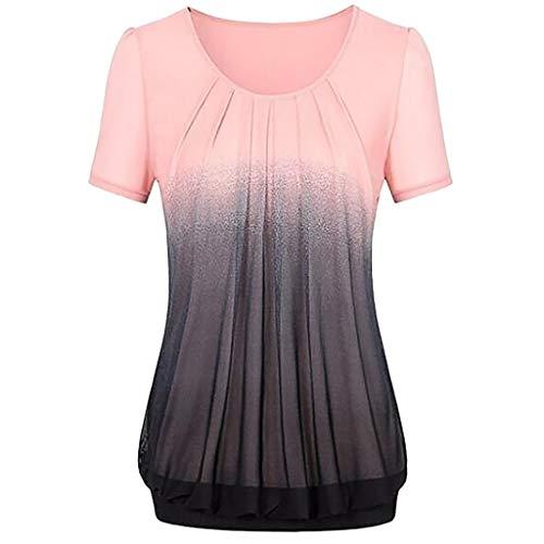 NPRADLA 2019 Damen beiläufige Steigung gedruckt Plissee Plus Größe Stammes T Shirt Tops Bluse(Rosa-1,XXXL)