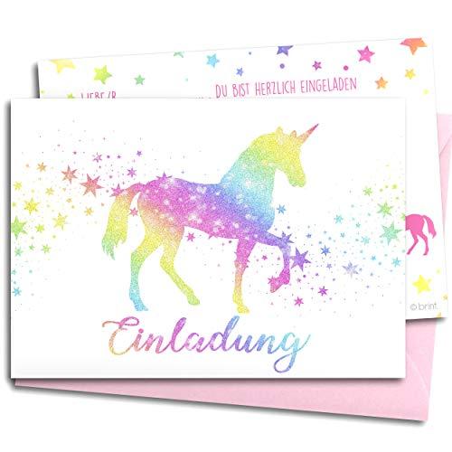 12x GLITZER Einladungskarten für Kindergeburtstag mit pastell rosa UMSCHLÄGEN | Regenbogen Einhorn | Mädchen & Jungen | Geburtstagseinladungen Party Einladungen Geburtstag Kinder Pferde Stern Glitter
