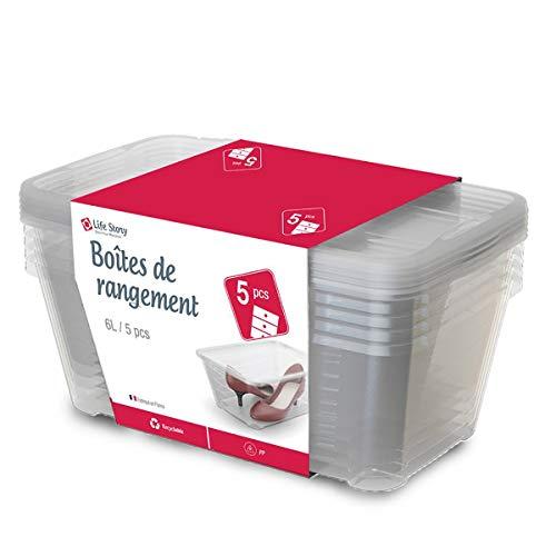 Life Story 5-Pack Scatole Contenitore Portaoggetti Impilabile con Coperchio, Organizzatore Versatile per Strumenti Artigianali e Scarpe, 6L, 34 × 20 × 12.7 cm