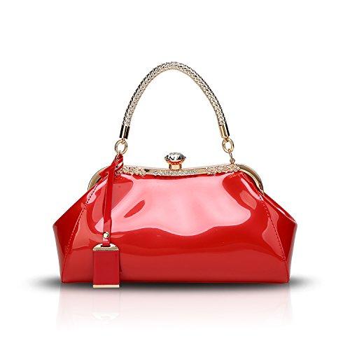 Tisdaini Donna Borse a mano vernice diamante moda Borse a spalla Borse a tracolla Borse Tote borse desigual Rosso